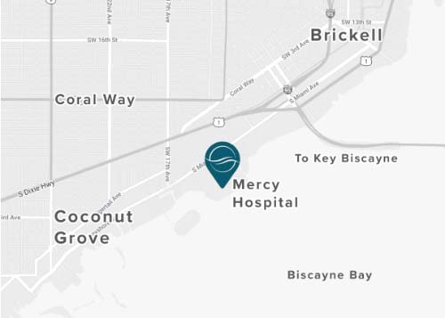 Map of office location at Mercy Hospital, centrally located between Coconut Grove, Coral Gables, Key Biscayne and Brickell in Miami
